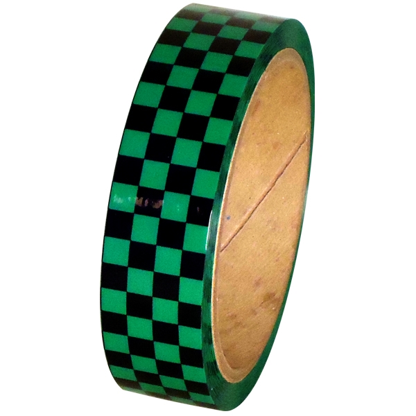 "Laminated Checkerboard Outdoor Vinyl Tape 1"" x 18 yard Roll Green / Black"